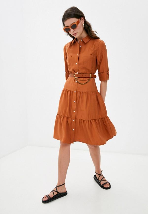 женское платье-рубашки silvian heach, коричневое