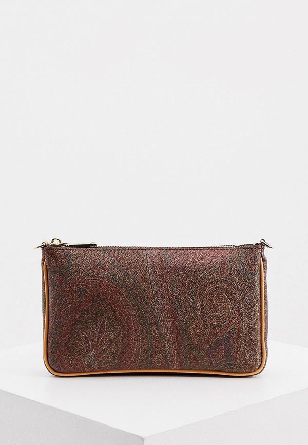 женская сумка с ручками etro, коричневая
