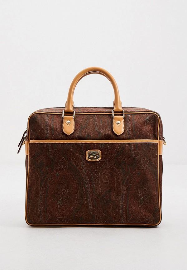 мужская сумка с ручками etro, коричневая