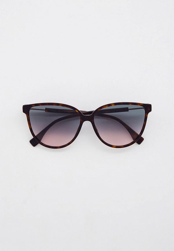 женские солнцезащитные очки кошачьи глаза fendi, коричневые