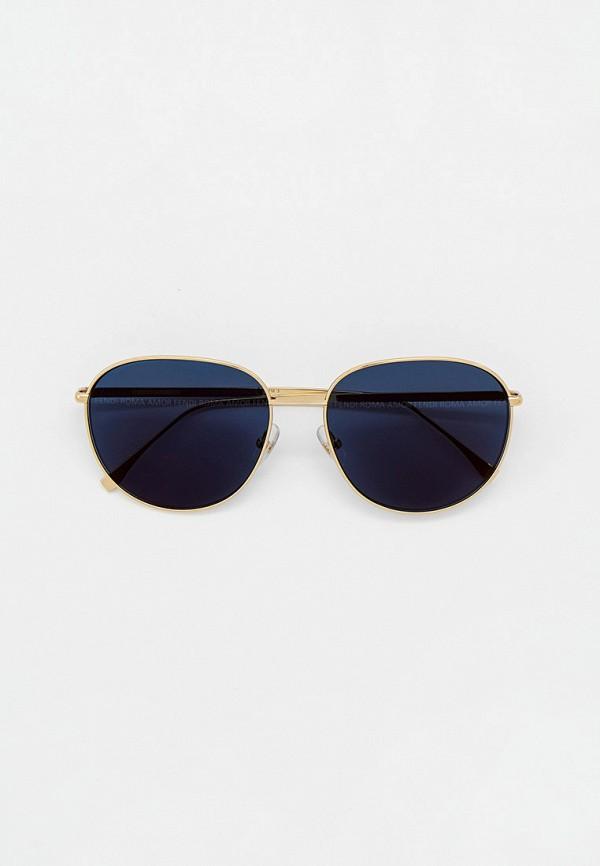 женские круглые солнцезащитные очки fendi, золотые
