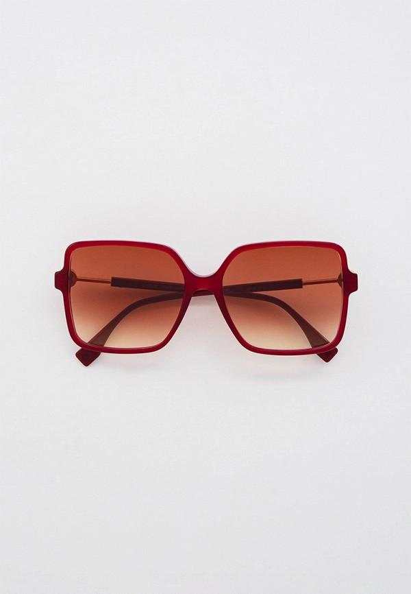 женские квадратные солнцезащитные очки fendi, бордовые