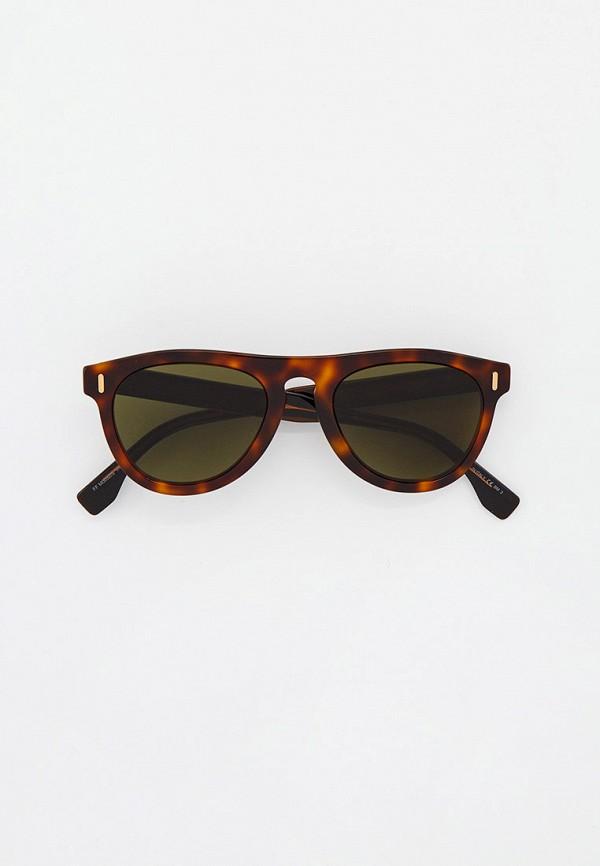 мужские круглые солнцезащитные очки fendi, коричневые
