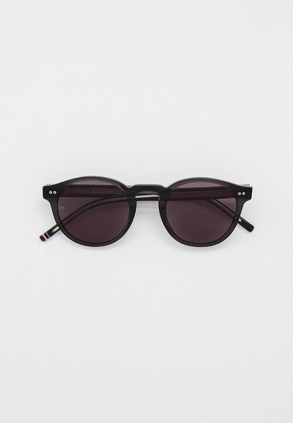 женские круглые солнцезащитные очки tommy hilfiger, черные
