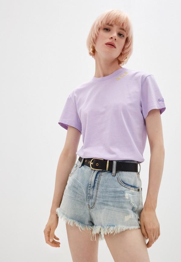 женская футболка mc2 saint barth, фиолетовая