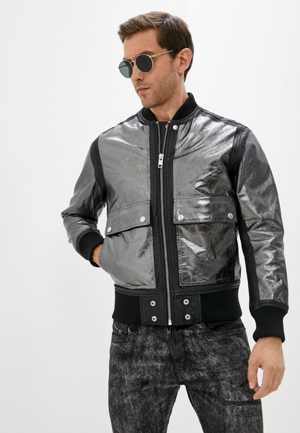 мужская кожаные куртка diesel, серебряная