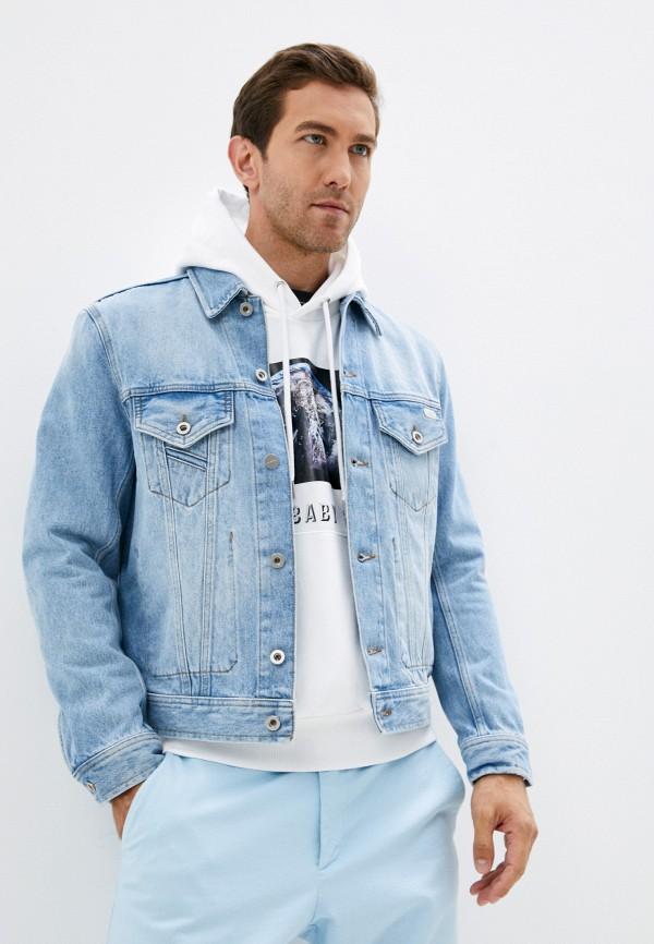 мужская джинсовые куртка diesel, голубая