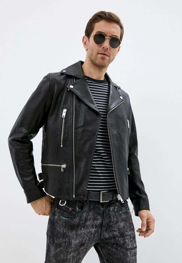 мужская куртка косухи diesel, черная