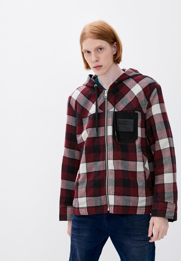 мужская утепленные куртка diesel, бордовая