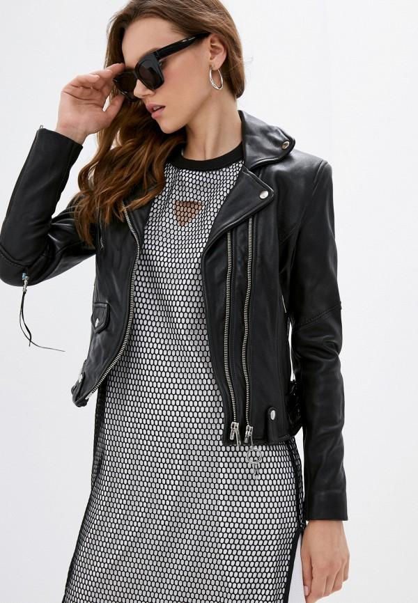 женская кожаные куртка diesel, черная