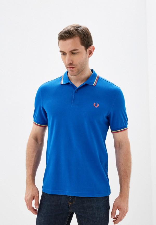 мужское поло с коротким рукавом fred perry, синее