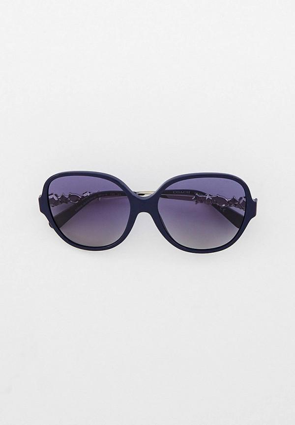женские круглые солнцезащитные очки coach, синие