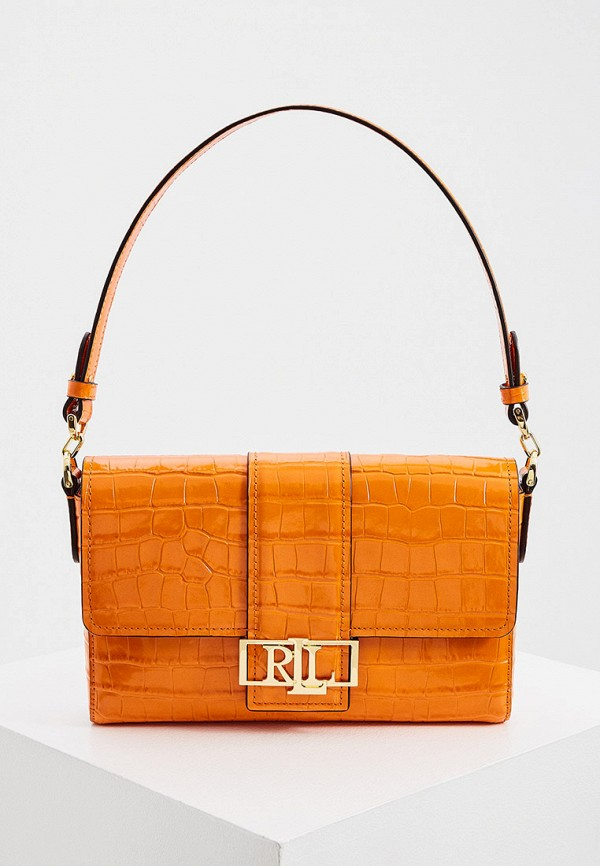 женская сумка с ручками lauren ralph lauren, оранжевая