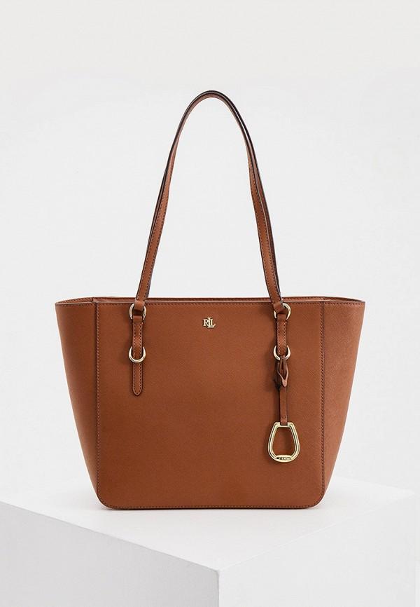 женская сумка-шоперы lauren ralph lauren, коричневая