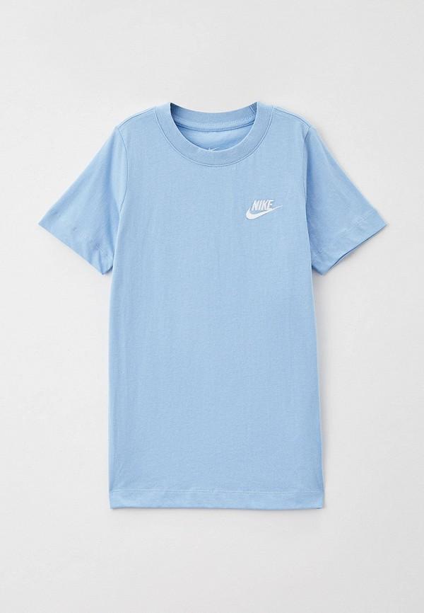 футболка с коротким рукавом nike для мальчика, голубая