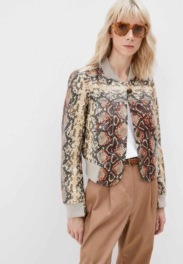 женская кожаные куртка french connection, коричневая