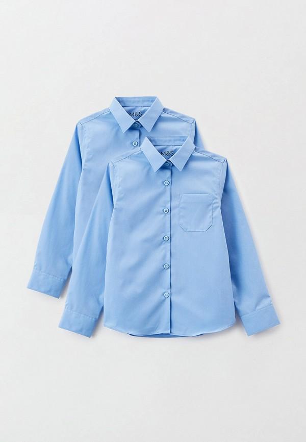 рубашка marks & spencer для девочки, голубая