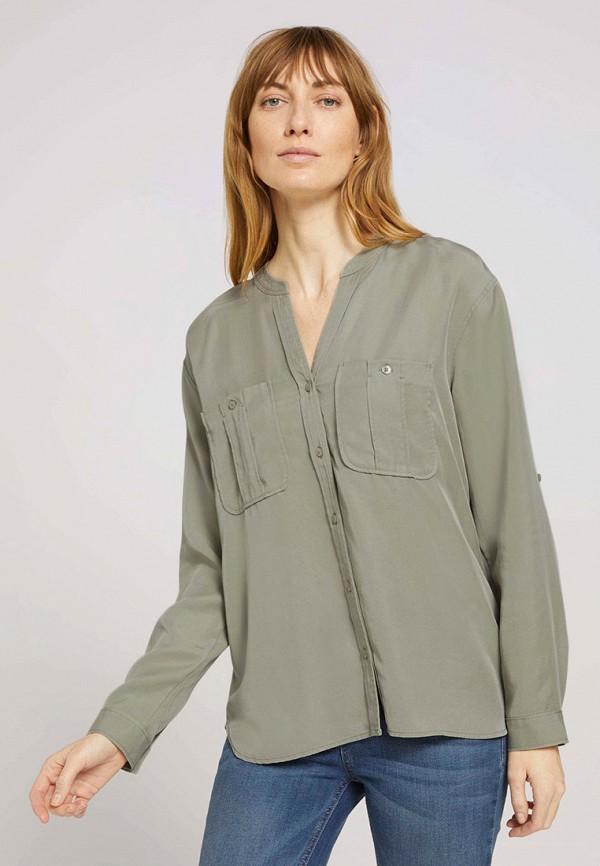 женская блузка с длинным рукавом tom tailor, хаки