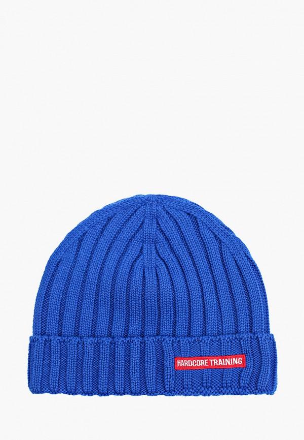 женская шапка hardcore training, синяя