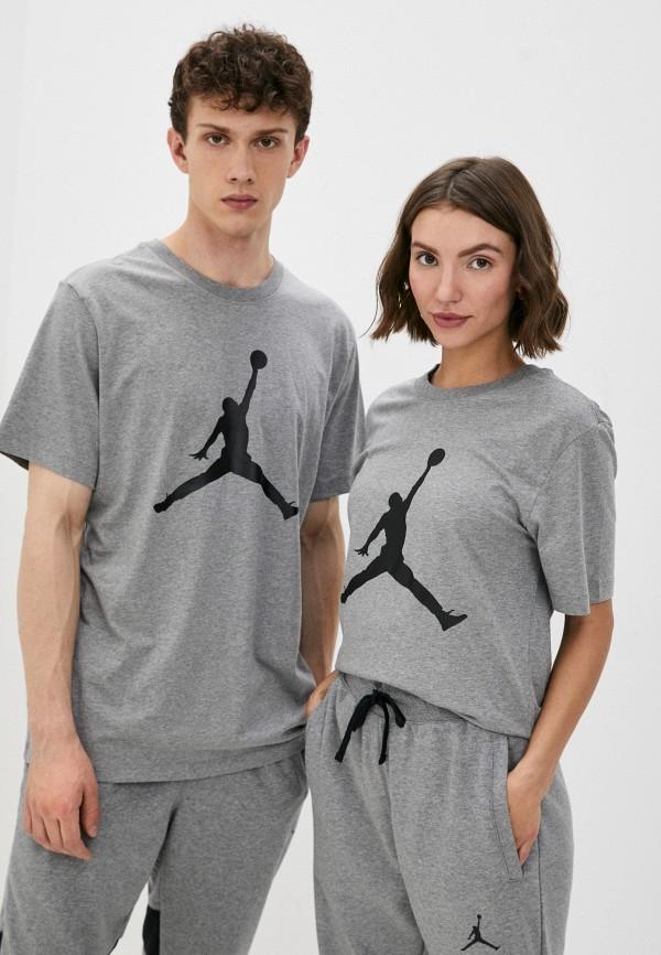 женская футболка с коротким рукавом jordan, серая