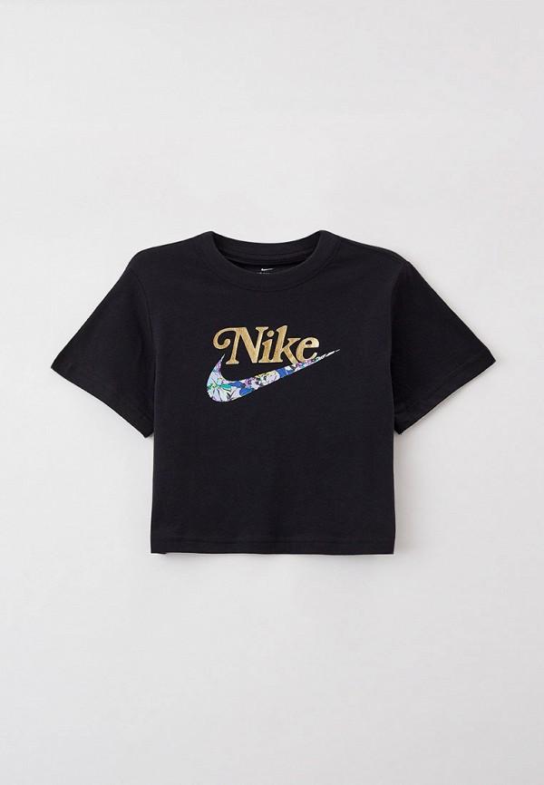 футболка с коротким рукавом nike для девочки, черная