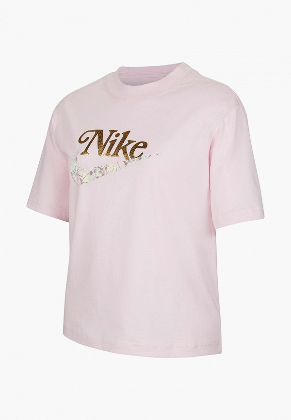 футболка с коротким рукавом nike для девочки, розовая