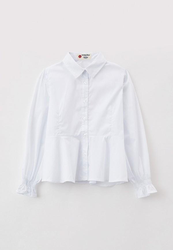 блузка button blue для девочки, белая