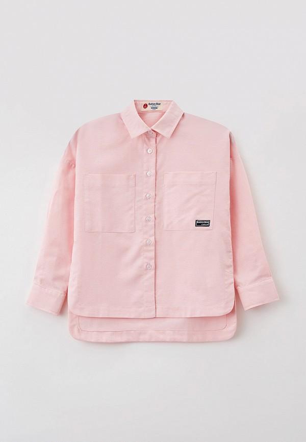 рубашка button blue для девочки, розовая