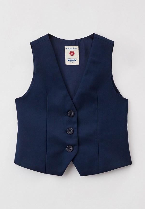 жилет button blue для девочки, синий