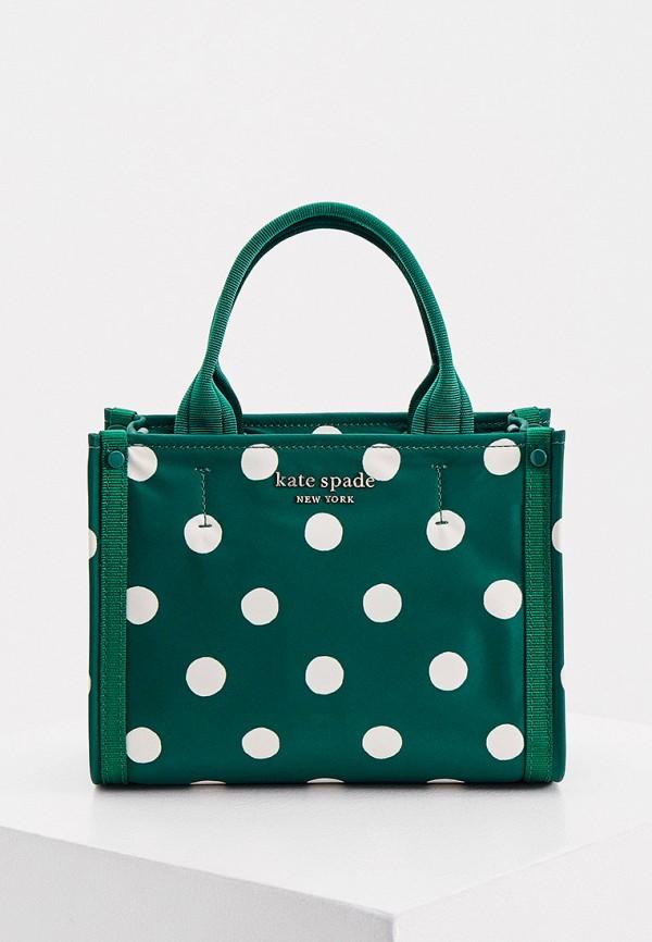 женская сумка с ручками kate spade, зеленая