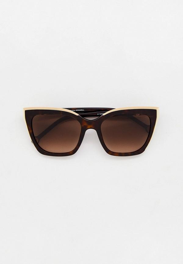 женские солнцезащитные очки кошачьи глаза carolina herrera, коричневые
