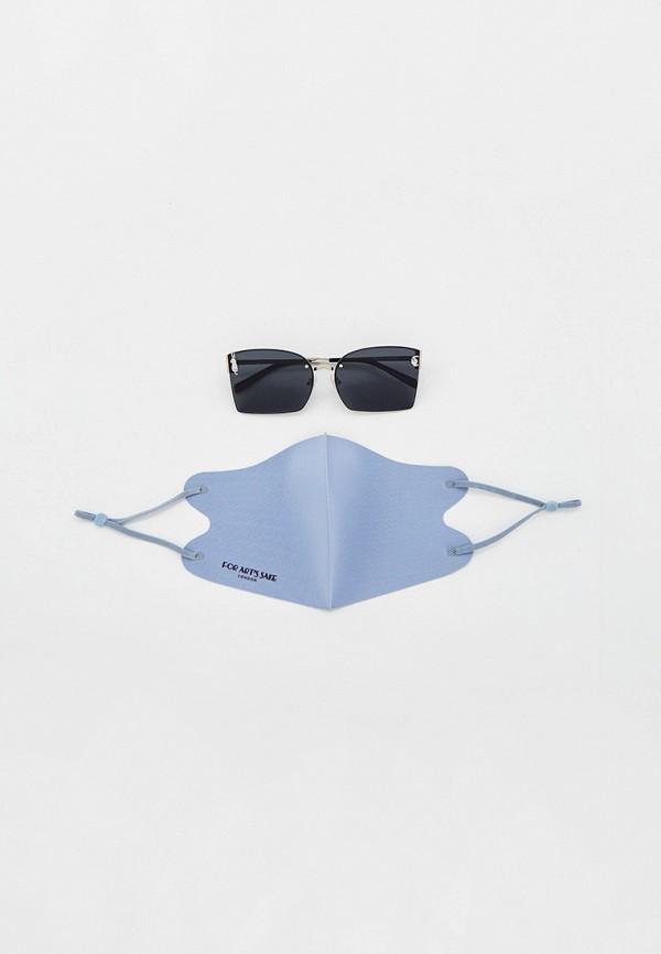 женские квадратные солнцезащитные очки for art's sake, серебряные