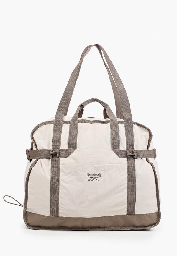 женская спортивные сумка reebok classic, бежевая