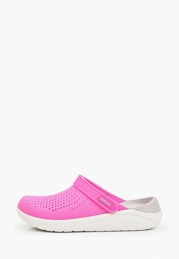 женское сабо crocs, розовое