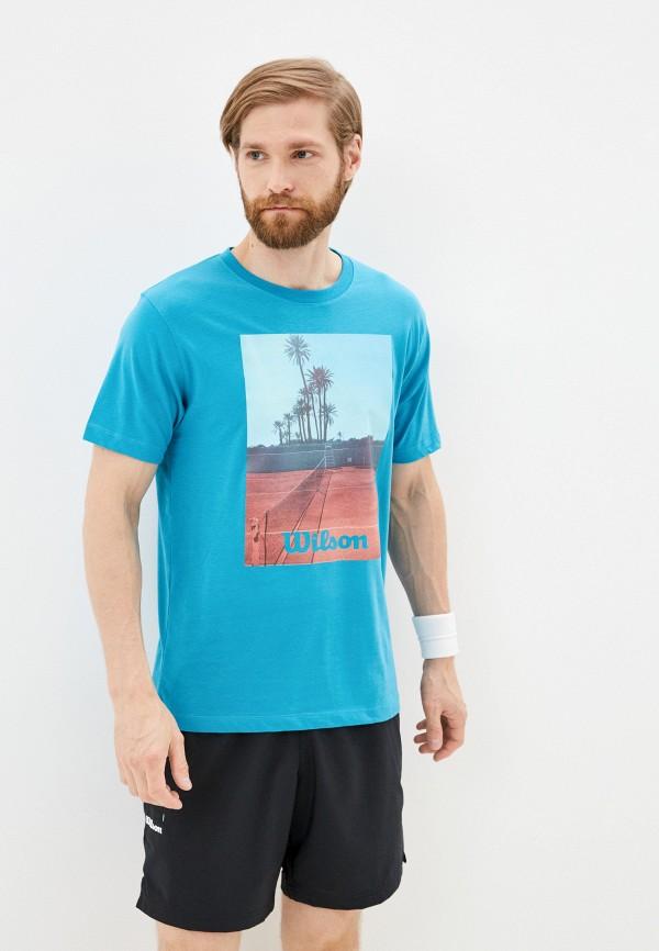 мужская спортивные футболка wilson, голубая