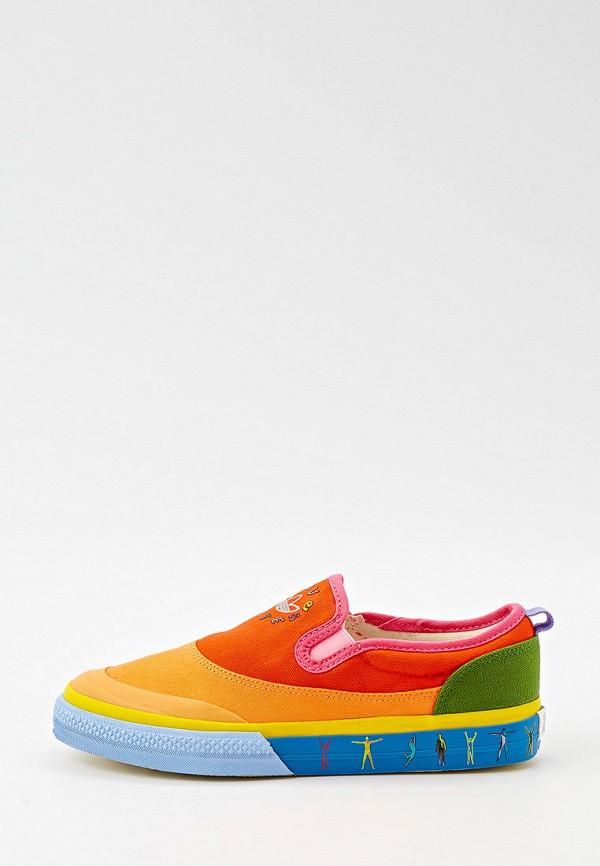 женские низкие слипоны adidas, разноцветные