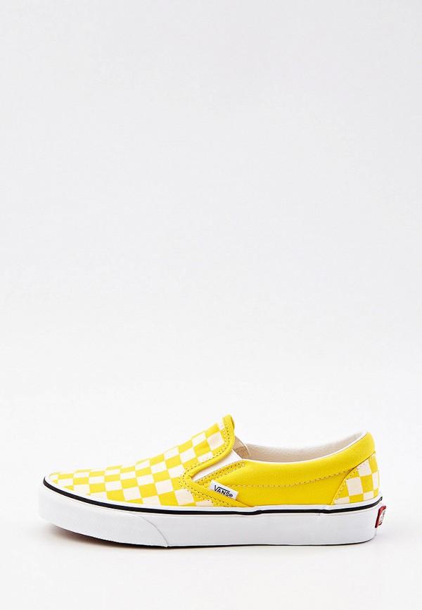 женские низкие слипоны vans, желтые