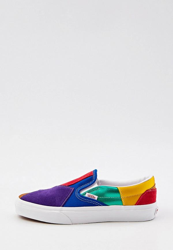 женские низкие слипоны vans, разноцветные