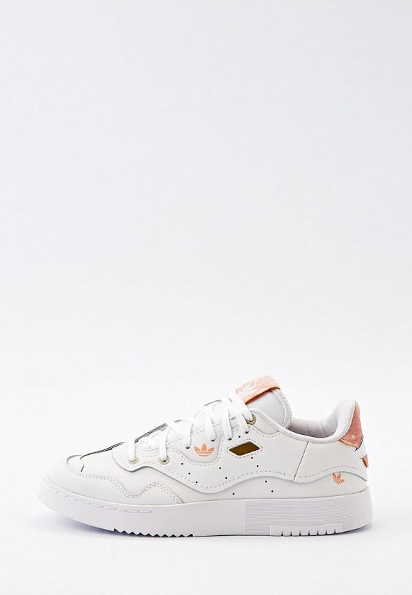 женские низкие кеды adidas, белые