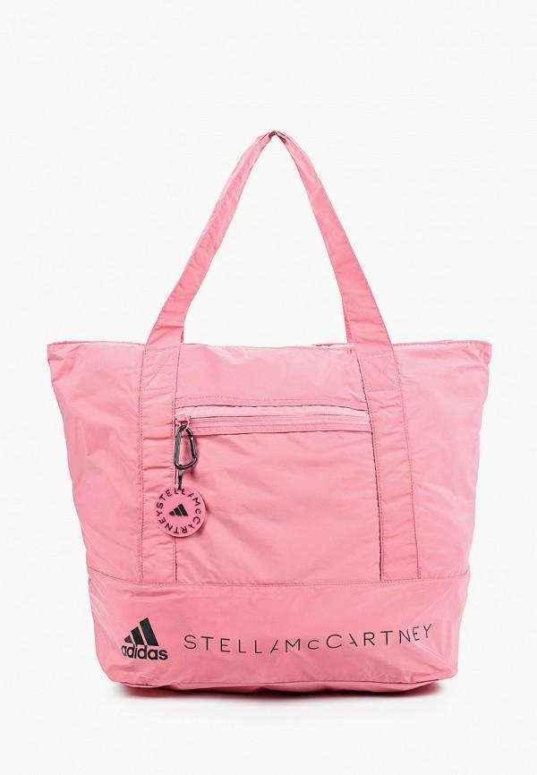 женская спортивные сумка adidas by stella mccartney, розовая