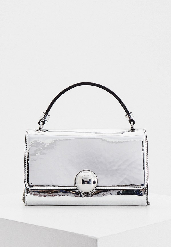 женская сумка с ручками max&co, серебряная