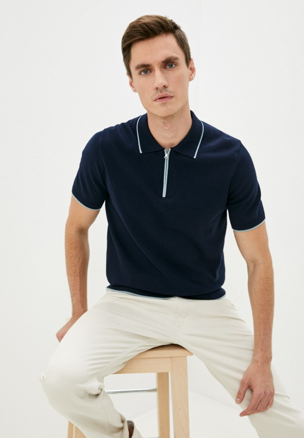 Поло Marks & Spencer синего цвета