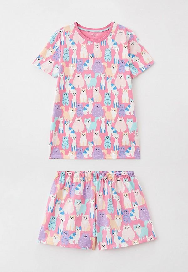 пижама marks & spencer для девочки, розовая