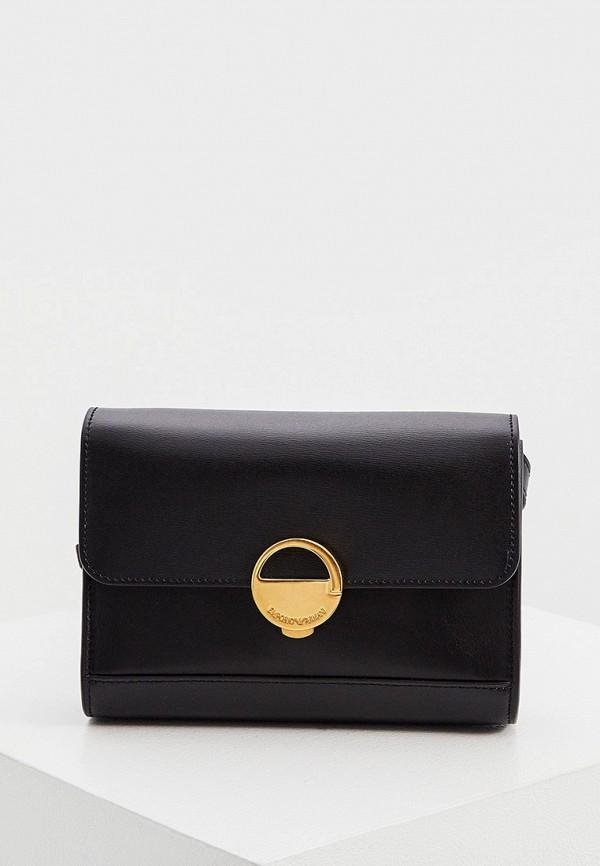 женская сумка через плечо emporio armani, черная