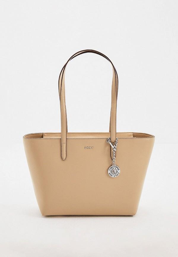 женская сумка-шоперы dkny, бежевая