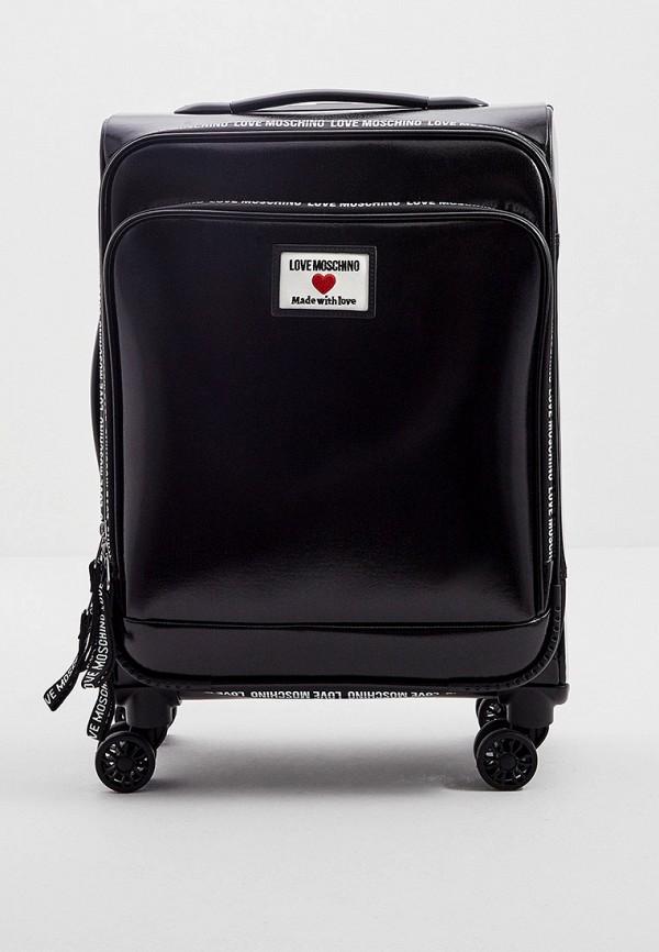 женский чемодан love moschino, черный