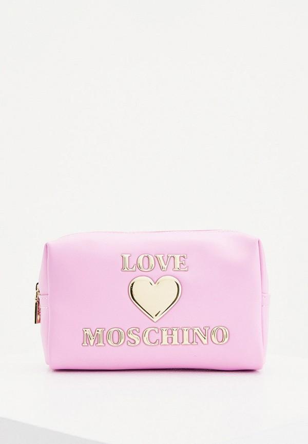 женская косметичка love moschino, розовая