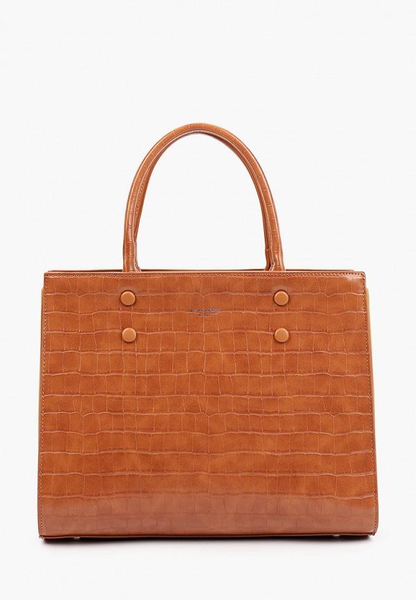 женская сумка с ручками david jones, коричневая