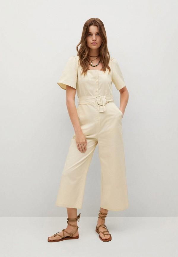 женский комбинезон с брюками mango, бежевый