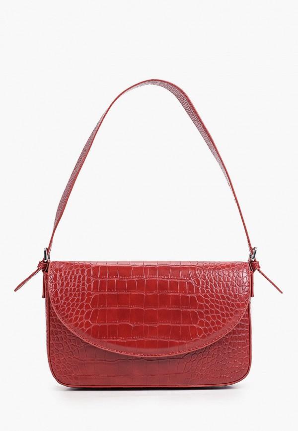 женская сумка с ручками mango, бордовая
